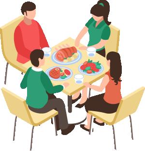 Ocupación máxima de 4 personas por mesa